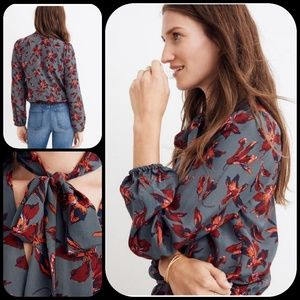 Madewell 100% Silk Wrap Top With Tie